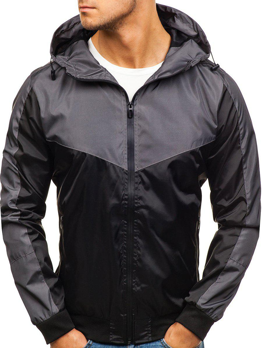 Color Block Zip Fly Outdoor Hooded Jacket - BLACK XS