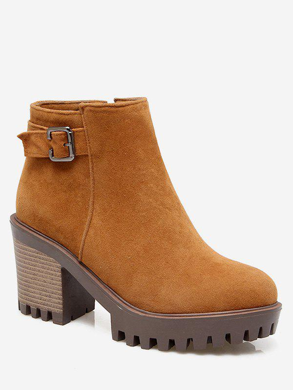 Plus Size Buckle Detail Heeled Ankle Boots - LIGHT BROWN EU 43