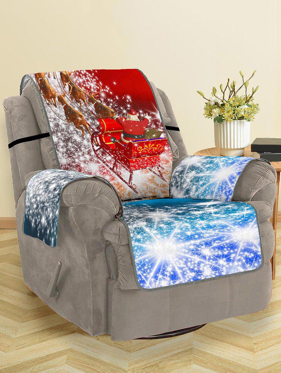 Christmas Elk Sleigh Pattern Couch Cover - RED SINGLE  SEAT