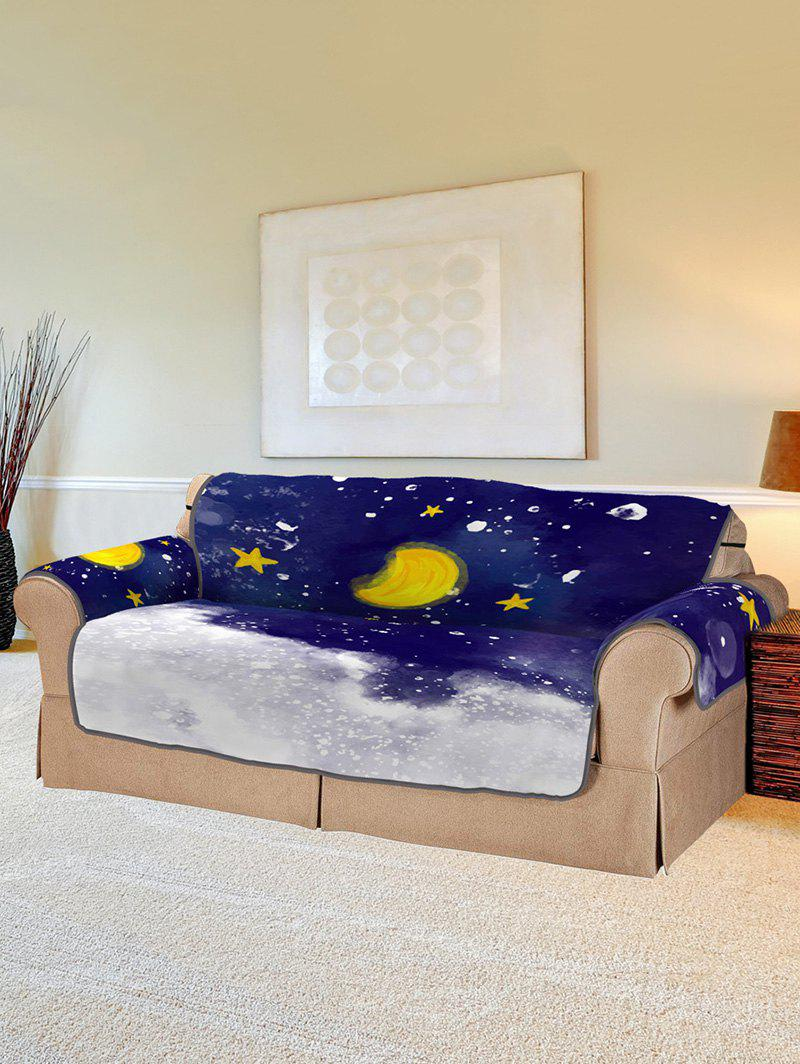 Christmas Moon Night Pattern Couch Cover - multicolor TWO  SEAT