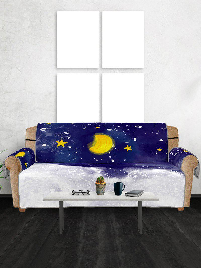 Christmas Moon Night Pattern Couch Cover - multicolor THREE  SEAT