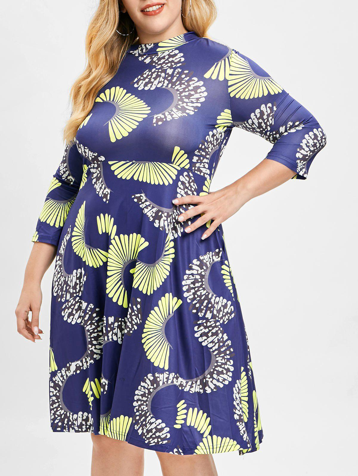 Plus Size Printed Swing Dress - multicolor L