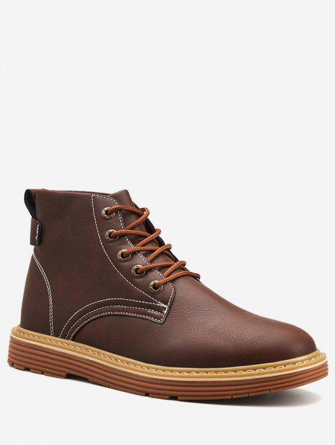 Lace Up PU Leather Boots - BROWN EU 40