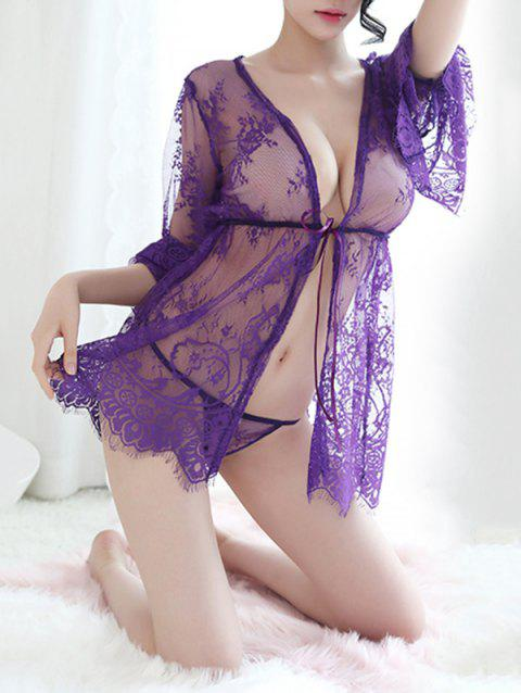 See Through Lace Sexy Babydoll - PURPLE ONE SIZE
