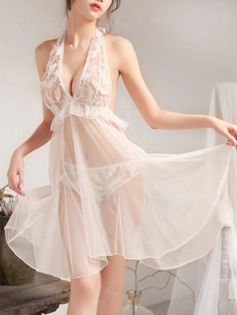 Backless Feather Embroidered Mesh Babydoll - WHITE ONE SIZE
