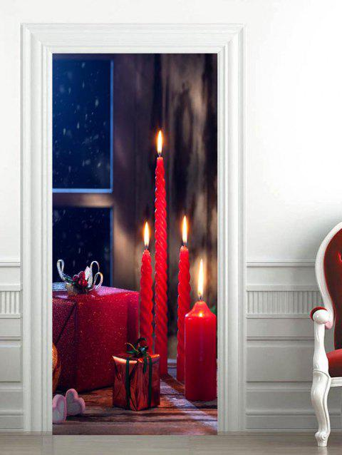 3D Christmas Gift Candle Pattern Door Art Stickers - LAVA RED 2PCS X 15 X 79 INCH