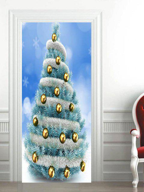 Christmas Tree Ball Pattern Door Art Stickers - CRYSTAL BLUE 2PCS X 15 X 79 INCH
