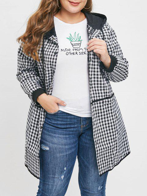 Plus Size Letters Embroidered Plaid Hooded Coat - BLACK 1X