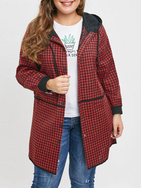 Plus Size Letters Embroidered Plaid Hooded Coat - RED 2X