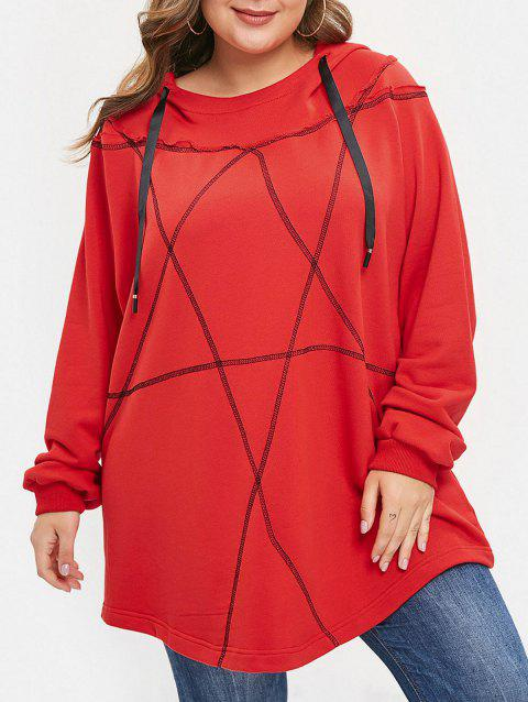 Plus Size Pullover Contrast Hoodie - RED 1X