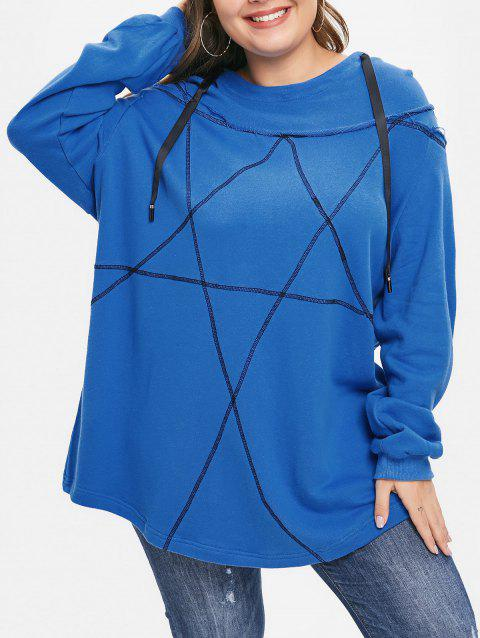 Plus Size Pullover Contrast Hoodie - BLUE L
