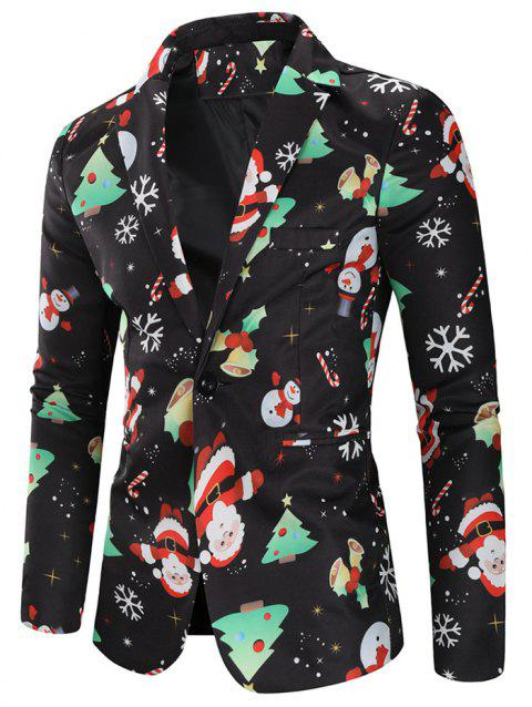 Christmas Snowmen Candy Printed Casual Blazer - multicolor L