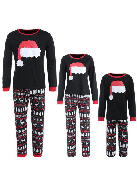 Christmas Hat Print Family Pajamas - BLACK MOM S