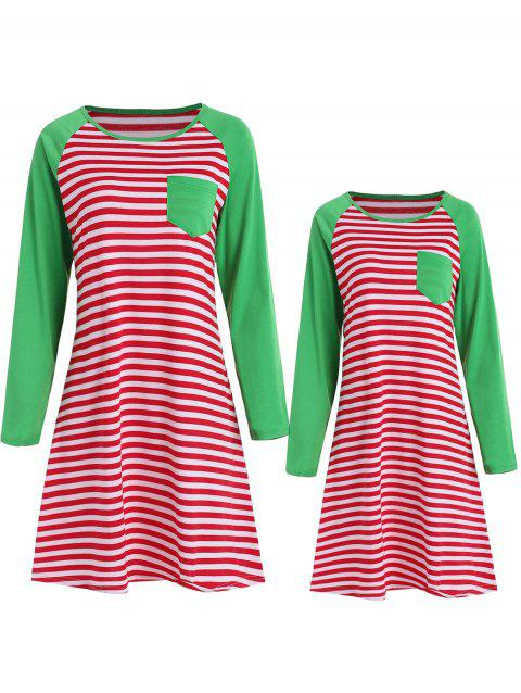 Mother and Daughter Matching Christmas Stripe Sleeping Dress - multicolor KID 6T