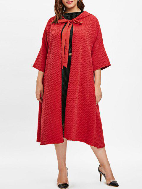 Plus Size Drop Shoulder Tied Front Coat - RED 4X