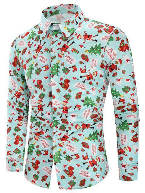 Christmas Animal Gifts Printed Long Sleeves Shirt - multicolor L