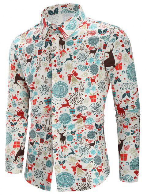 Christmas Print Casual Shirt - multicolor L