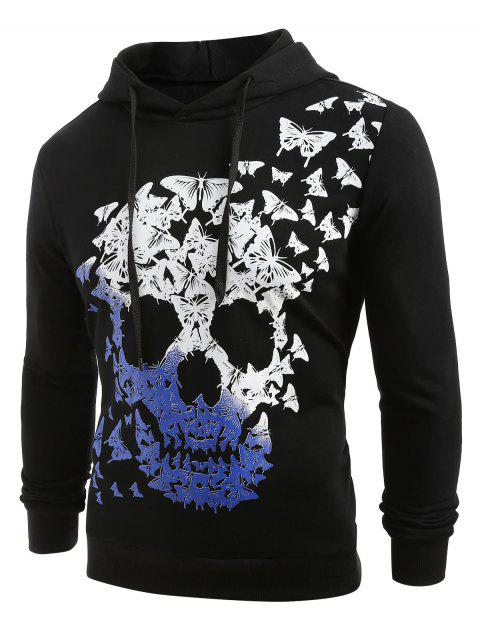 Skull and Butterfly Print Pullover Hoodie - BLACK L