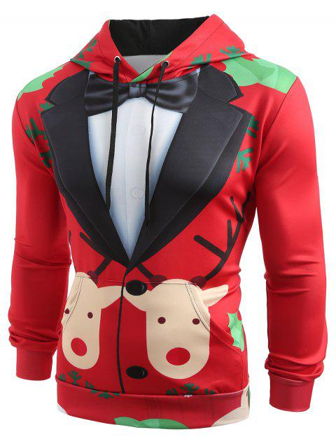 Christmas Faux Suit Print Pullover Hoodie - multicolor 3XL