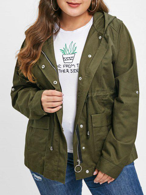 Drawstring Waist Plus Size Front Pockets Jacket - ARMY GREEN L
