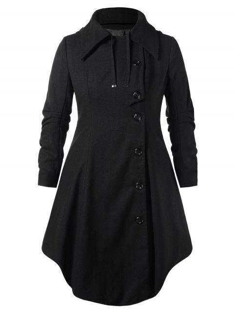 Plus Size Hooded Long Woollen Skirted Coat - BLACK 4X