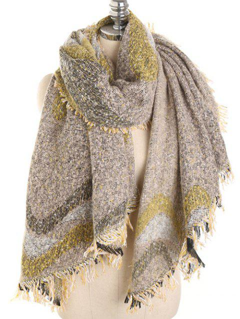 Irregular Wave Pattern Fringed Long Scarf - FALL LEAF BROWN