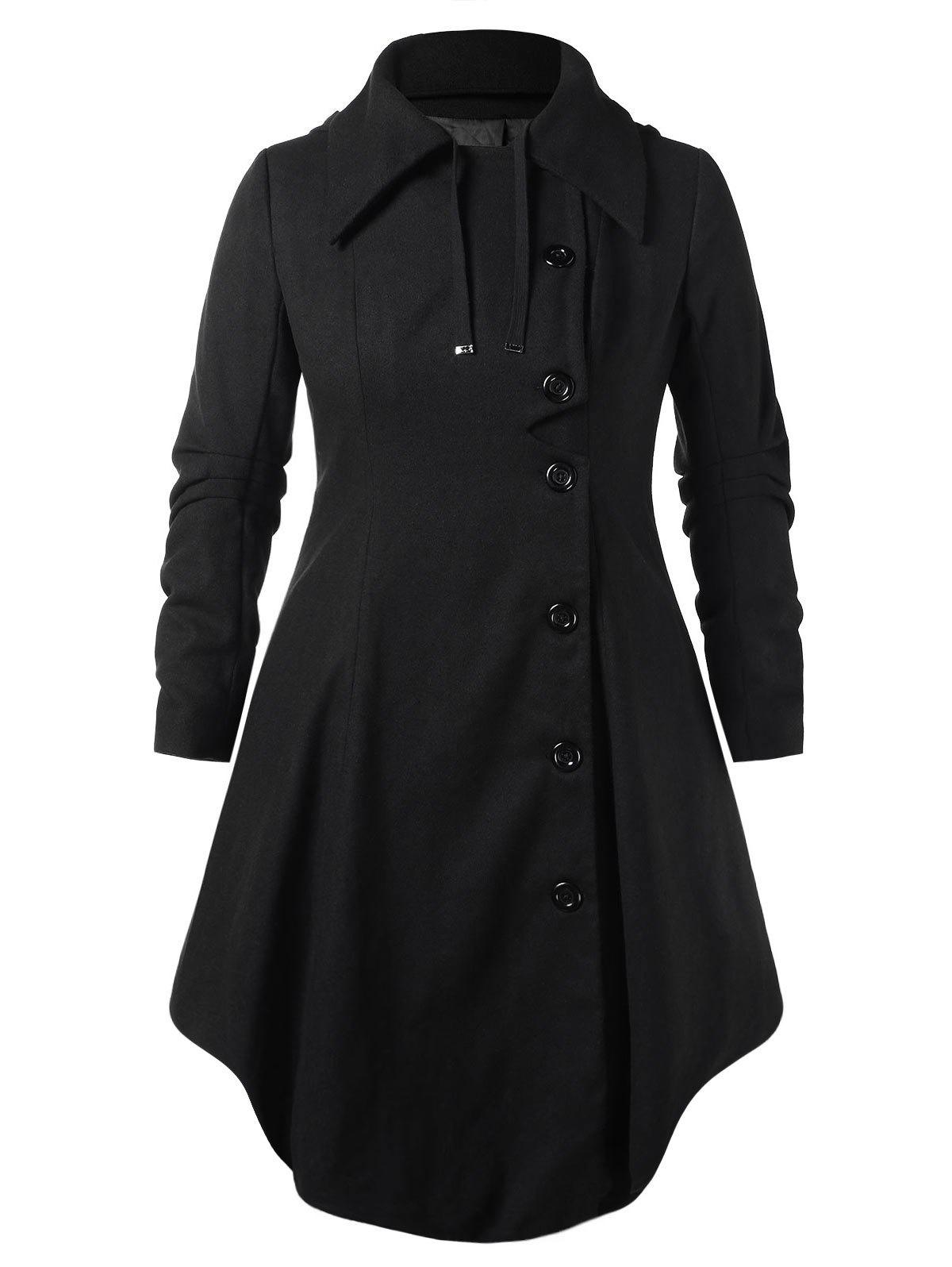 Plus Size Hooded Long Woollen Skirted Coat