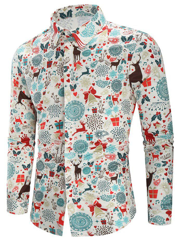 Christmas Print Casual Shirt - multicolor M