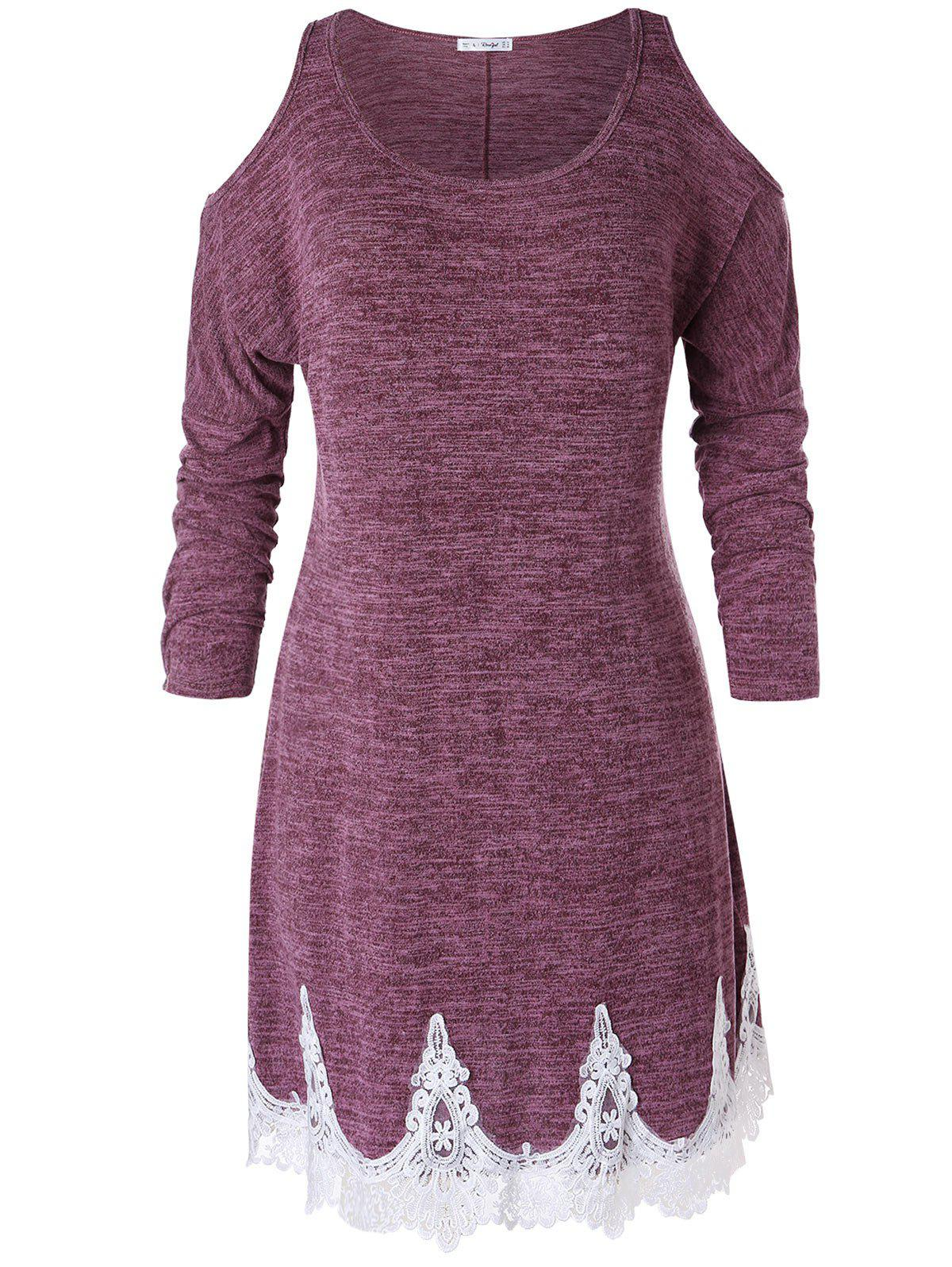 Plus Size Cold Shoulder Lace Trim Marled T-shirt - VELVET MAROON 1X