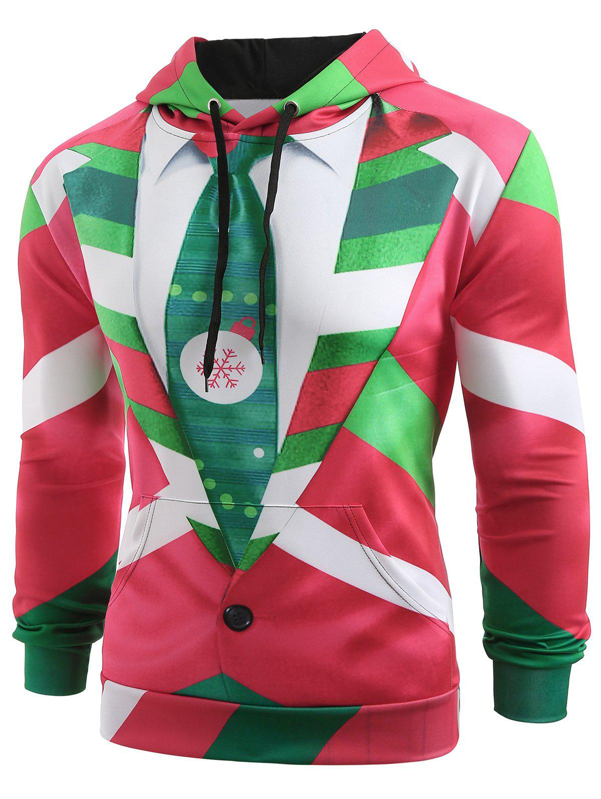 Christmas Faux Suit and Tie Print Hoodie - multicolor 2XL