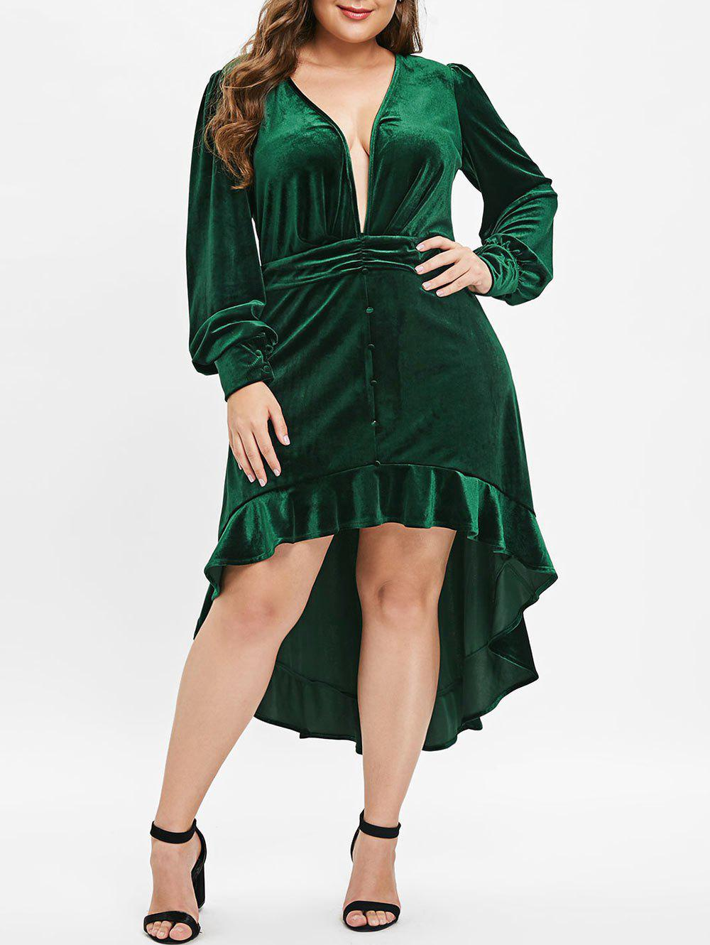 Plus Size High Low Flounce Plunging Velvet Dress - DARK GREEN L