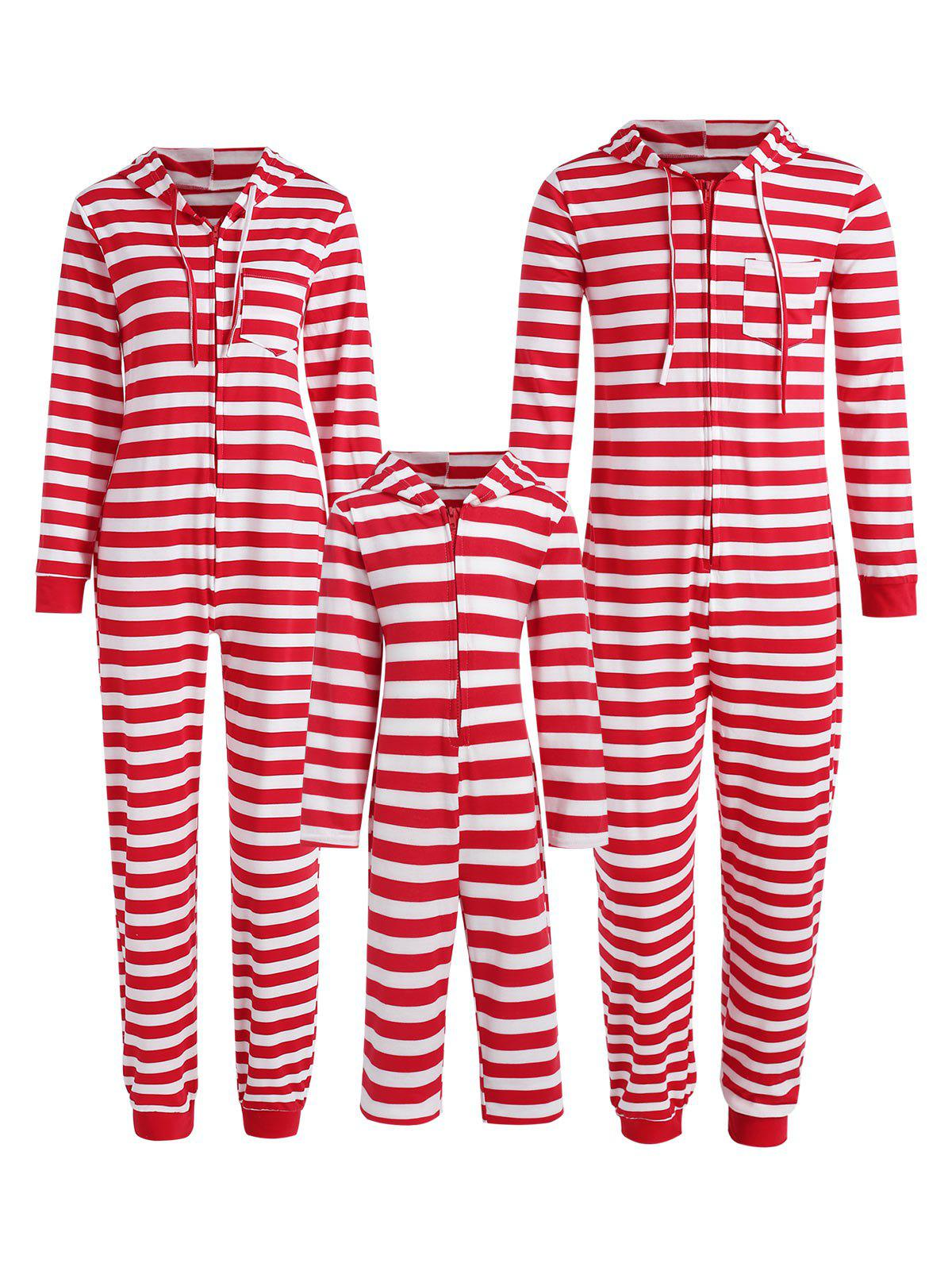 Christmas Stripe Hooded Family Jumpsuit Pajama - RED DAD S
