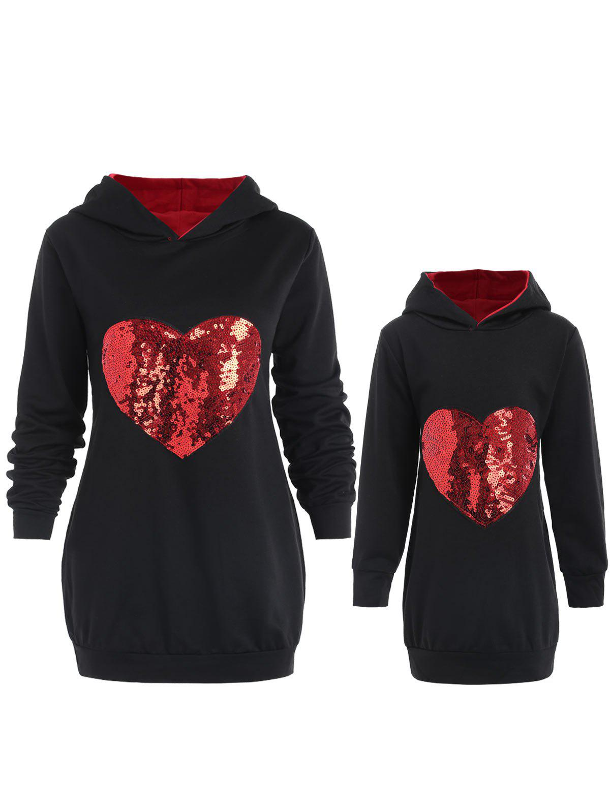 Mother and Daughter Matching Heart Sequins Hoodie - BLACK KID 7T