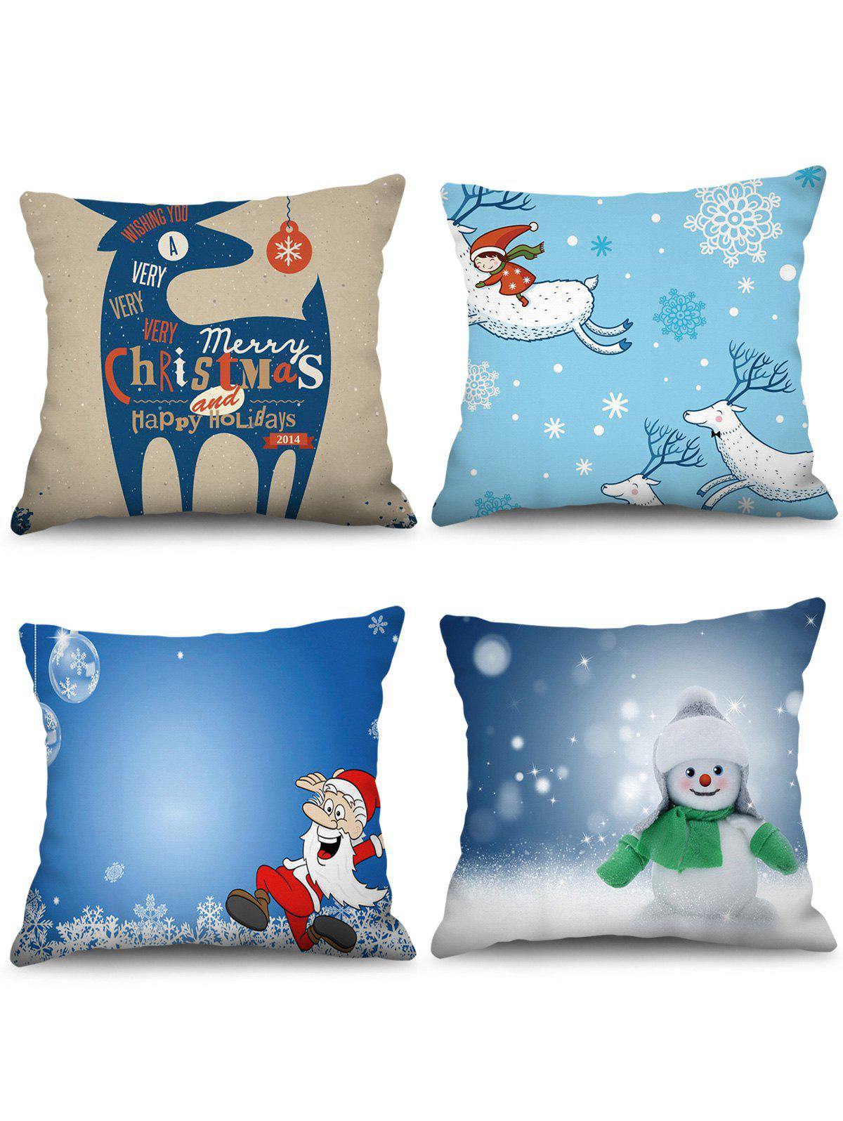 4PCS Father Christmas Deer Snowman Printed Pillow Cover - multicolor W18 X L18 INCH