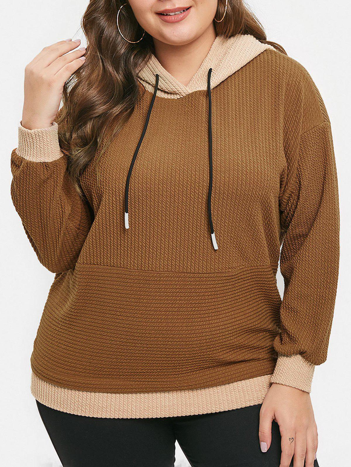 Plus Size Color Block Pullover Hoodie - LIGHT BROWN 1X