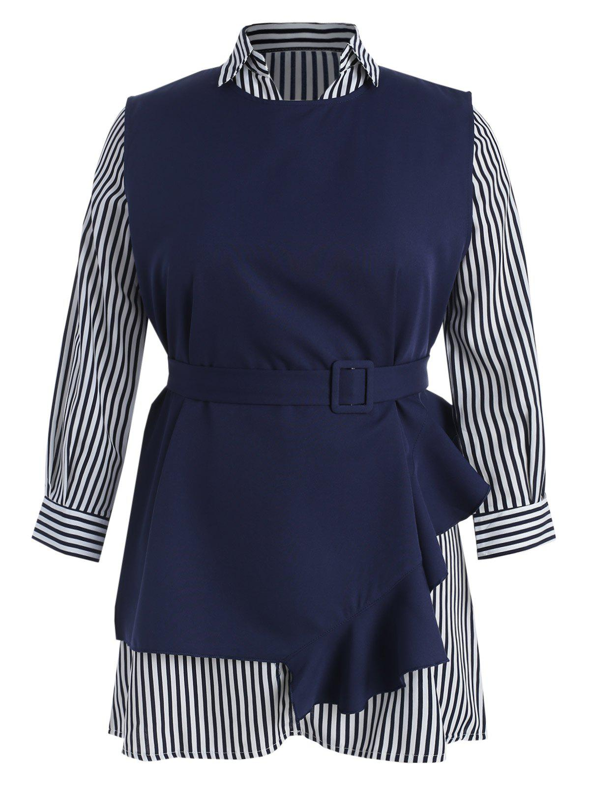 Plus Size Striped Dress and Ruffle Top with Belt - DARK SLATE BLUE L