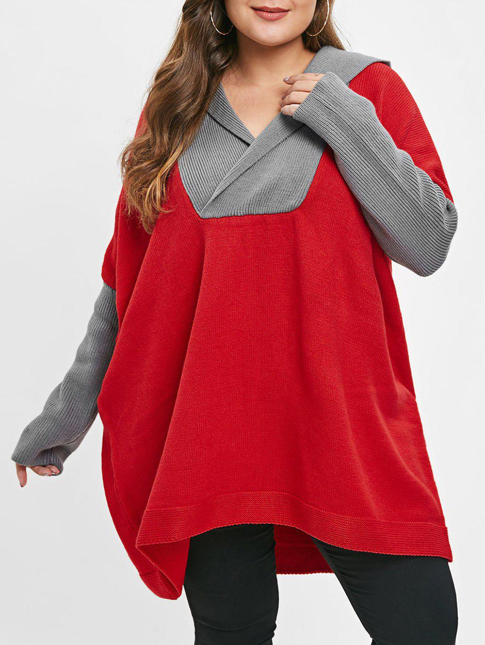 Plus Size Color Block Hooded Sweater - RED ONE SIZE