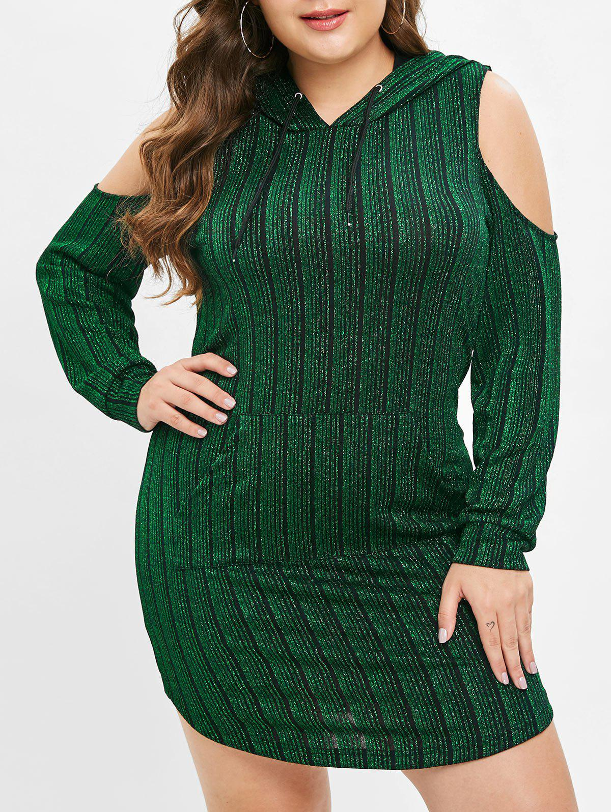 Plus Size Cold Shoulder Pocket Shiny Hoodie Dress - DEEP GREEN 1X
