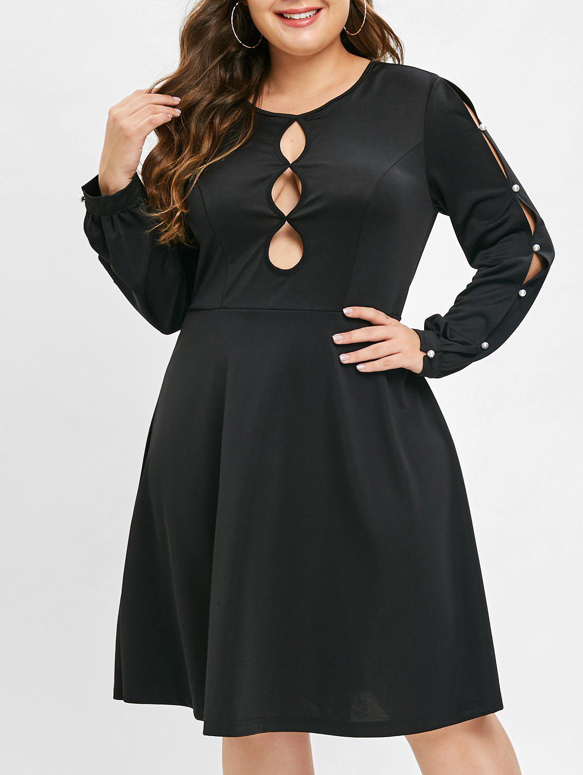 Plus Size Faxu Pearls Cutout Long Sleeves Dress - BLACK 2X