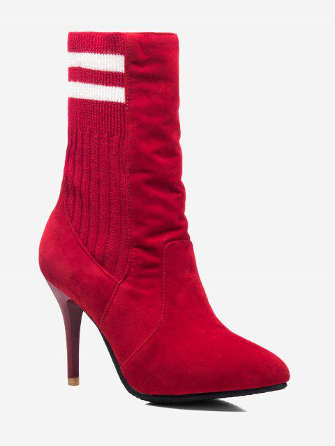 Plus Size Stiletto Heel Striped Sock Boots - RED EU 42