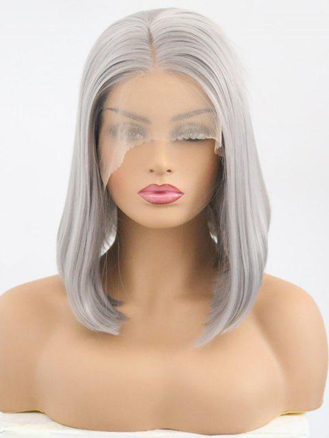 Medium Center Parting Straight Bob Synthetic Lace Front Wig - GRAY GOOSE