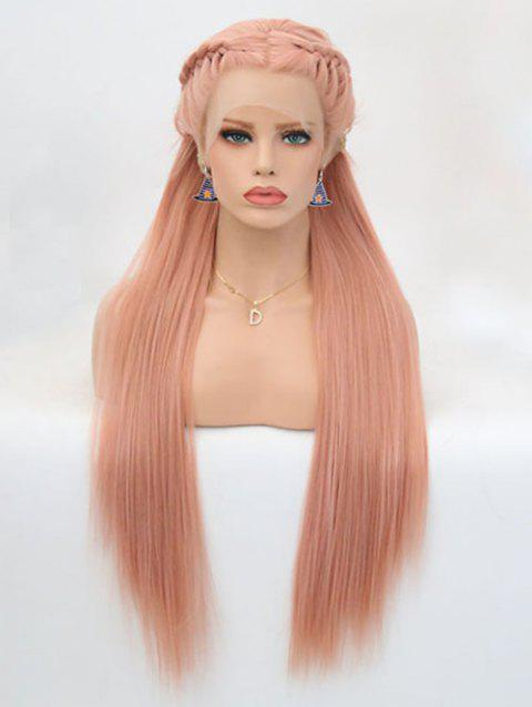 Long Middle Part Braided Straight Party Lace Front Synthetic Wig - ORANGE PINK