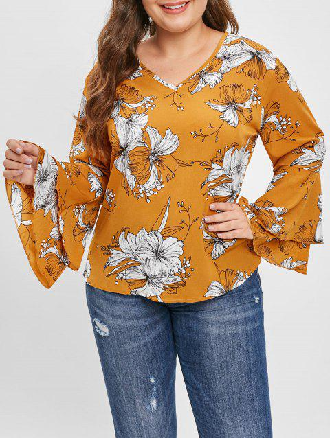 Plus Size Flared Sleeve Print Blouse - GOLDENROD 2X