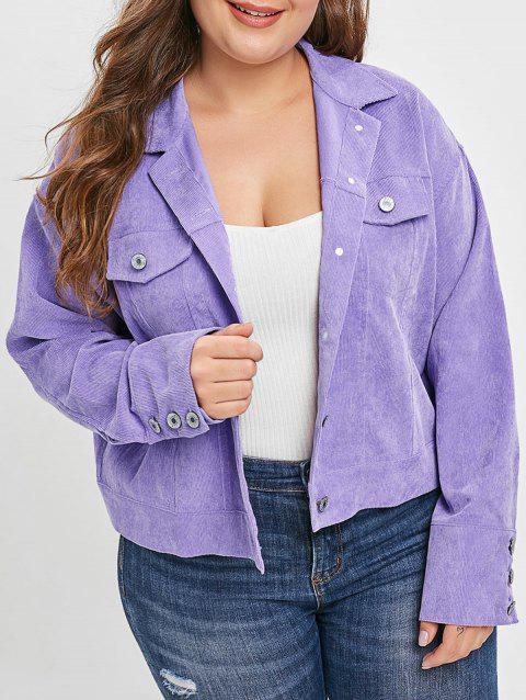 Corduroy Plus Size Pocket Jacket - PURPLE L