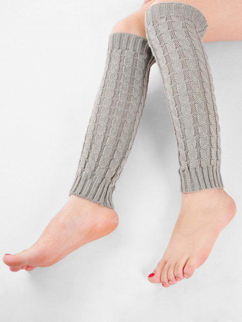 Winter Solid Color Knitted Leg Warmers - LIGHT GRAY