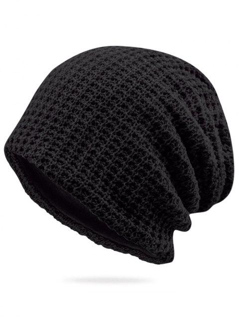 Solid Color Winter Baggy Beanie - BLACK
