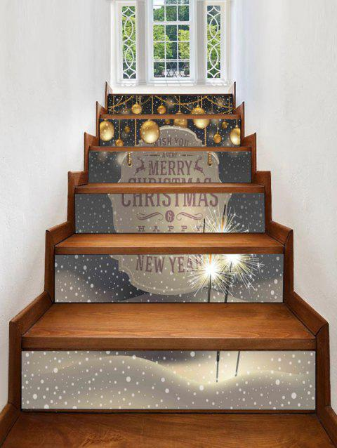 Christmas Balls Blessing Pattern Removable Stair Stickers - multicolor 6PCS X 39 X 7 INCH( NO FRAME )