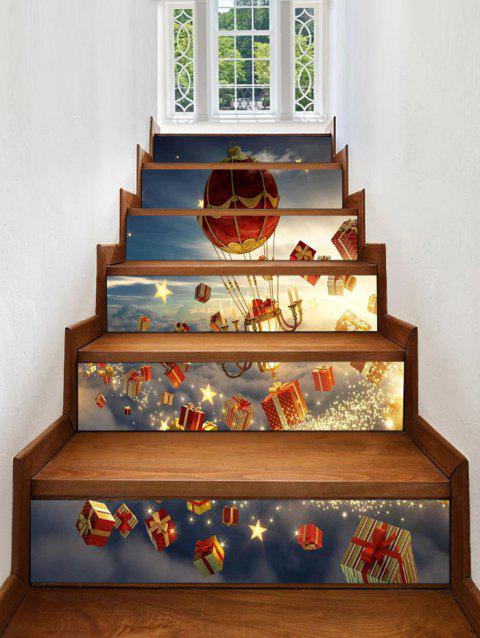 Christmas Gifts Stars Pattern Removable Stair Stickers - multicolor 6PCS X 39 X 7 INCH( NO FRAME )