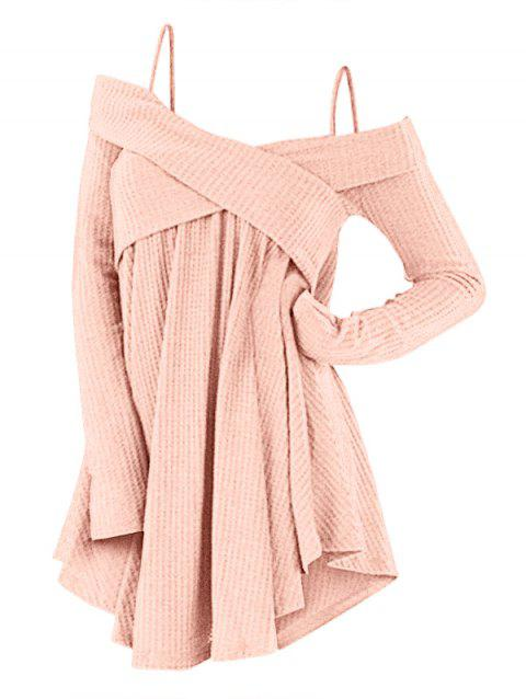 3f7d16939a4 48% OFF  2019 Cold Shoulder Crisscross Tunic Sweater In PIG PINK ...