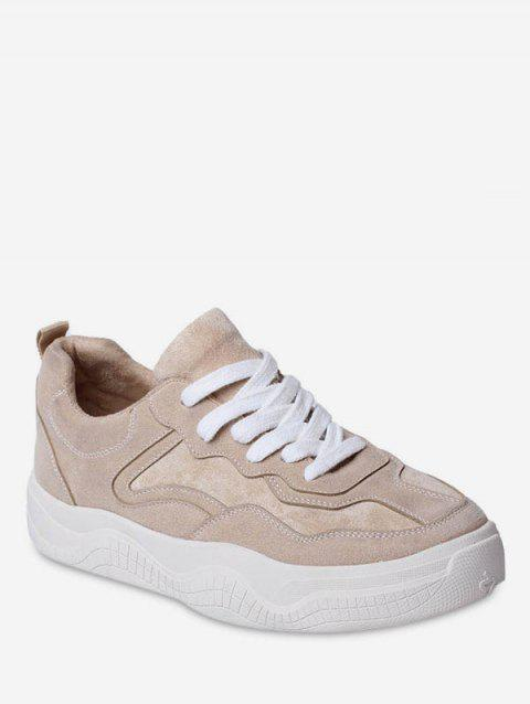 Lace Up Suede Platform Sneakers - WARM WHITE EU 38